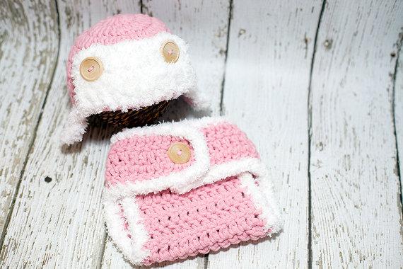 /& Diaper Cover Set  Newborn 3 Months Handmade Crochet Baby  Hat