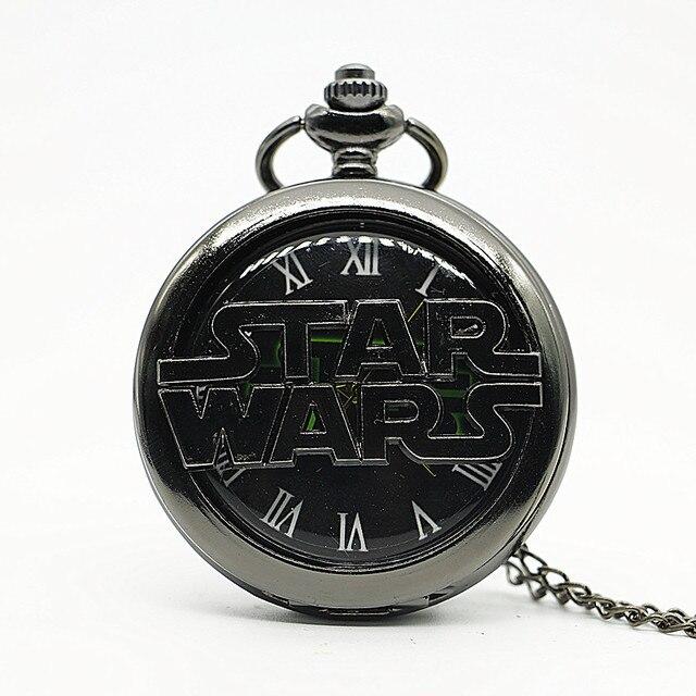 Black STARWARS Quartz Pocket Watch Necklace Drop Shipping #TD2059