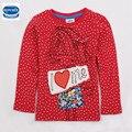 Ropa de la muchacha al por menor 2016 nova kids wear ropa niños impreso encantador de la muchacha litle polka dot camiseta de la muchacha niños usan ropa