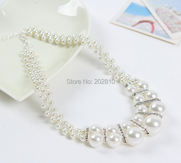 New style fine quanlity casual & sporty women Set auger crystal pearl necklace jewelry,cheap pearl chokers necklace women