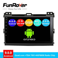 FUNROVER android 9.0 2 din car radio for Toyota Land Cruiser Prado 120 dvd multimedia player gps navigation system navi DSP 2.5D