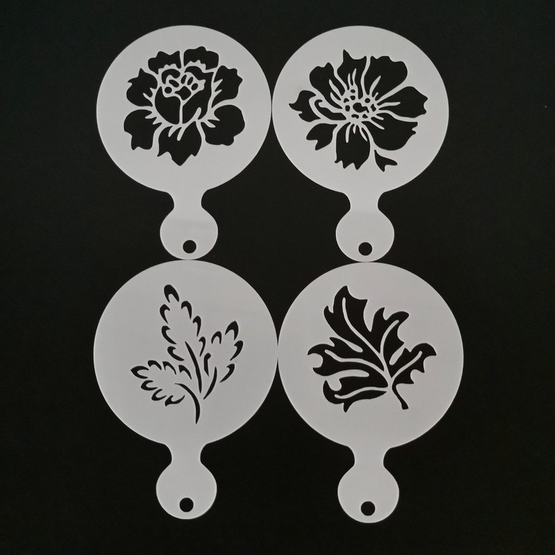 4Pcs/set Tree Leaves Flower Coffee Latte Cappuccino Barista Art Stencils Plastic Milk Coffee Template Cafe Decoration