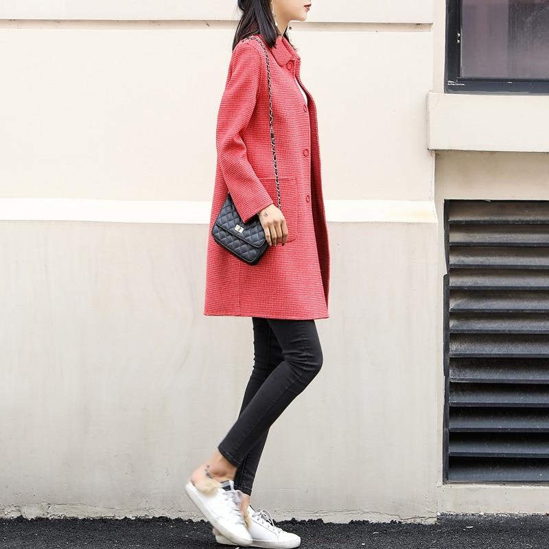 Nuovo doppio sided cashmere cappotto in primavera del 2019 100% cappotto di lana per le donne cappotto a quadri rosso di lana cappotti giacca lunga di inverno