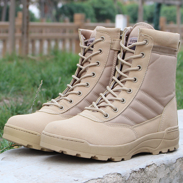 d01fa5a46e4 US $29.95 18% OFF|Bjakin Retro Men Tactical Military Boots Outdoor Army  Hiking Shoes Quality Combat Safety Shoes High Top Big Size 46-in Hiking  Shoes ...