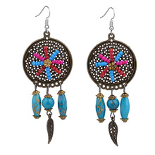 Earrings for Women Earings Colorful Bohe Bohemian Fashion Jewelry Hollow Out Round