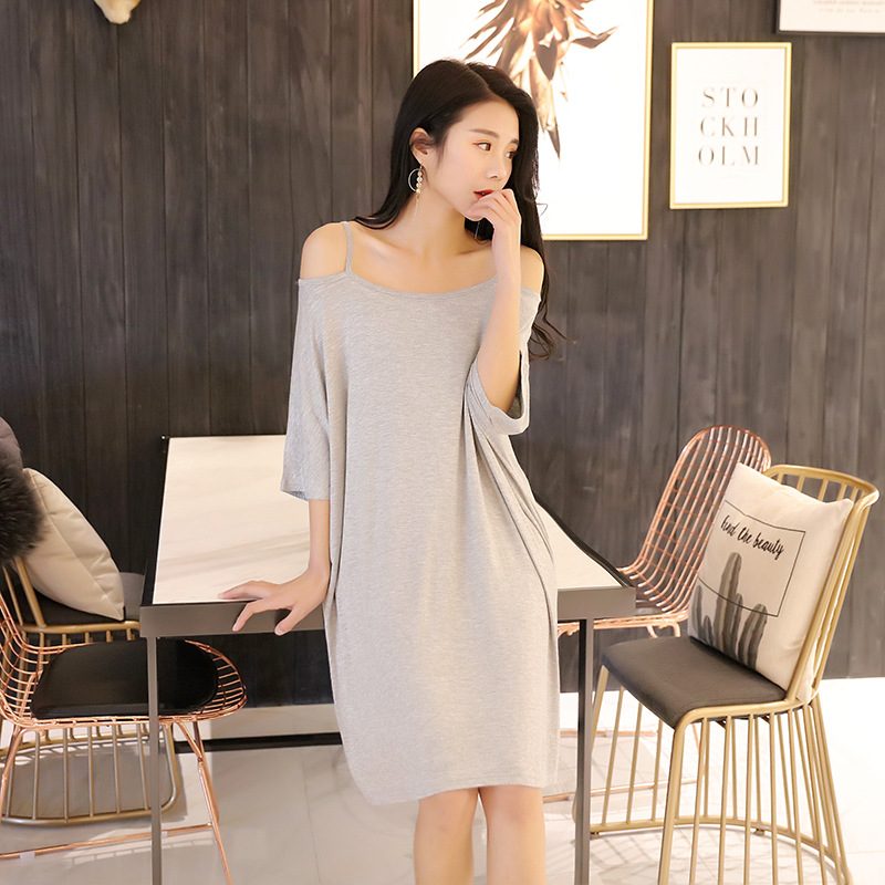 2018 spring summer new loose nightdress women sling female bat sleeve leaking shoulder sexy dress   nightgowns     sleepshirts