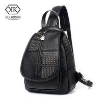 KULUOSIDI Fashion Rivet Female Backpack Women School Bags For Girls Small PU Leather Backpack For Teenagers Girls Shop Travel