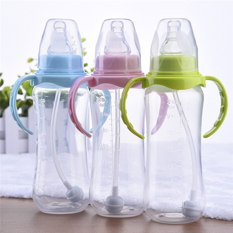 240ml Cute Baby bottle Infant Newborn Children Learn Feeding Drinking Handle Bottle Kids Straw Juice Water Bottles Training Cup