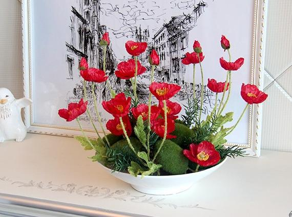 freeshipping european eramic flower pot + small poppy flowers