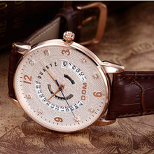 Montre Homme новый роскошный дом мужские часы супер-мягкие кожаные часы мужчины календарем даты 50 м водонепроницаемый кварцевые наручные часы для мужчин