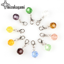 Crystal Charms Floating-Pendant Birthstone Magnetic Clasp Locket with Lobster for 20pcs/Lot