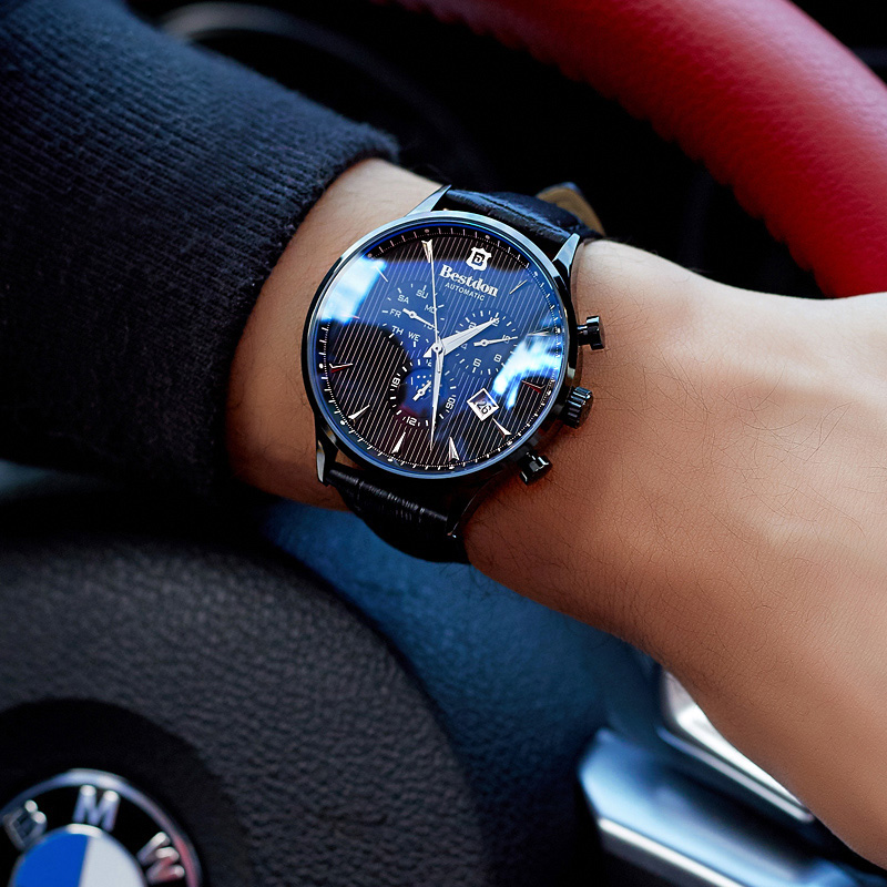 Image 4 - Bestdon Luxury Brand Watch Men Automatic Mechanical Watch Business Casual Switzerland Watches Moon Phase Blue Leather Strap 7116-in Mechanical Watches from Watches