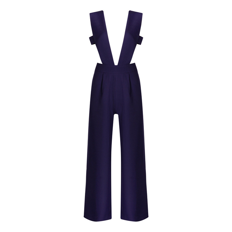 Ocstrade Sexy Jumpsuit and Rompers for Women 2017 Night Clubwear Navy Hollow Out Elegant Party Wide Leg Jumpsuits Black White