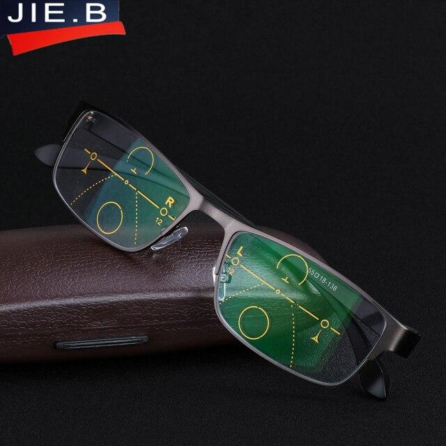 JIE.B New Men's Titanium Alloy resin Progressive lenses Reading Glasses men Fashion Square Classic Multifocal Glasses for Men