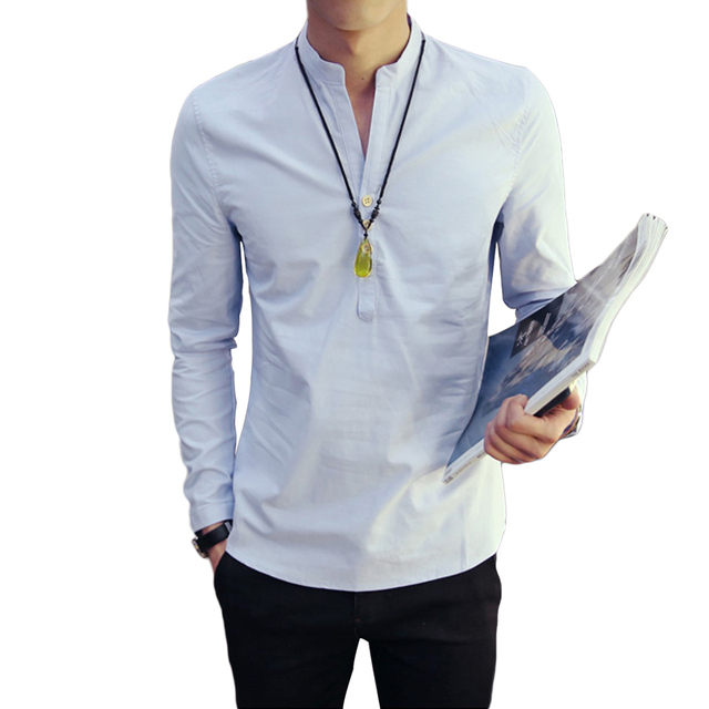 White Blue T Shirts Mens Long Sleeve Button Up Linen Tee Shirt Homme Stand Collar