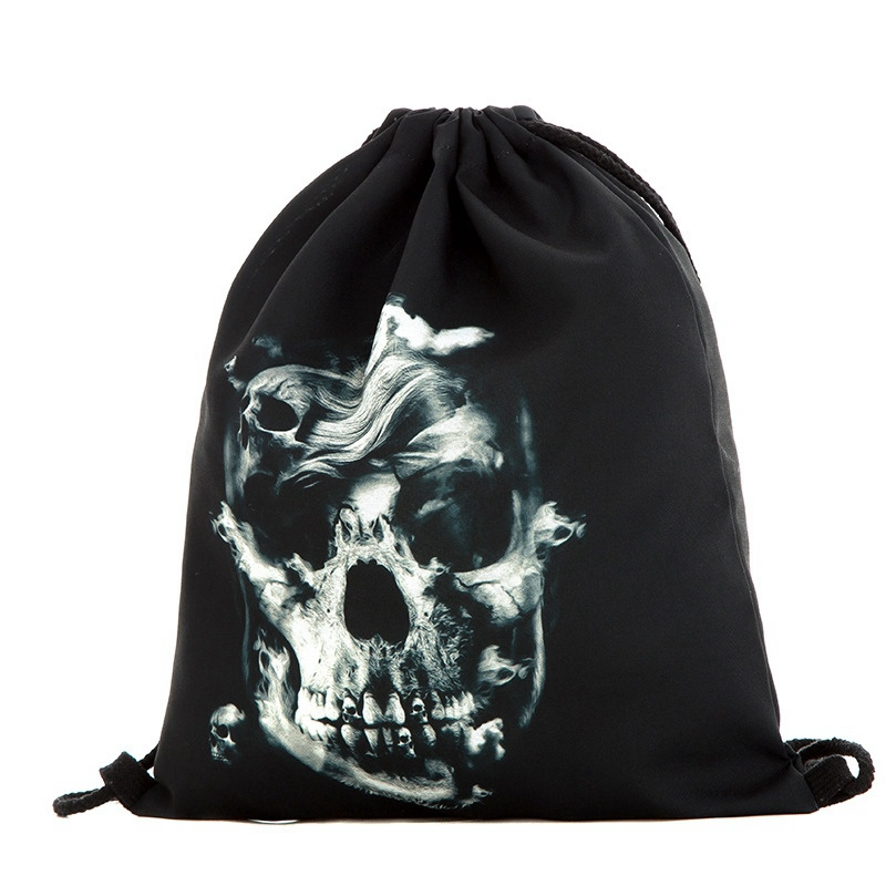 Halloween Drawstring Bag Black 3D Digital Printed Bouquet Pocket Halloween Backpack Drawstring Bag