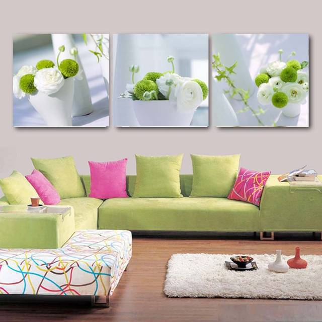 3 Panels Flower Home Decor Painting Large Wall Pictures For Living Room Kitchen Dinning White Green Plant Canvas Poster in Painting Calligraphy from Home Garden