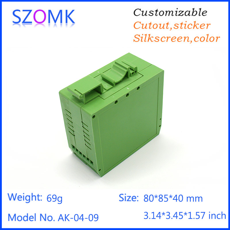 10 pcs, 80*85*40mm szomk plastic electronics enclosure box for pcb din rail box industrial enclosure cabinet project plastic box встроенная техника