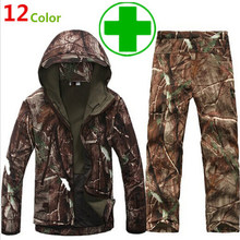 Camouflage hunting clothing Shark skin soft shell lurker tad v 4.0 outdoor tactical military fleece jacket + uniform pants suits(China)