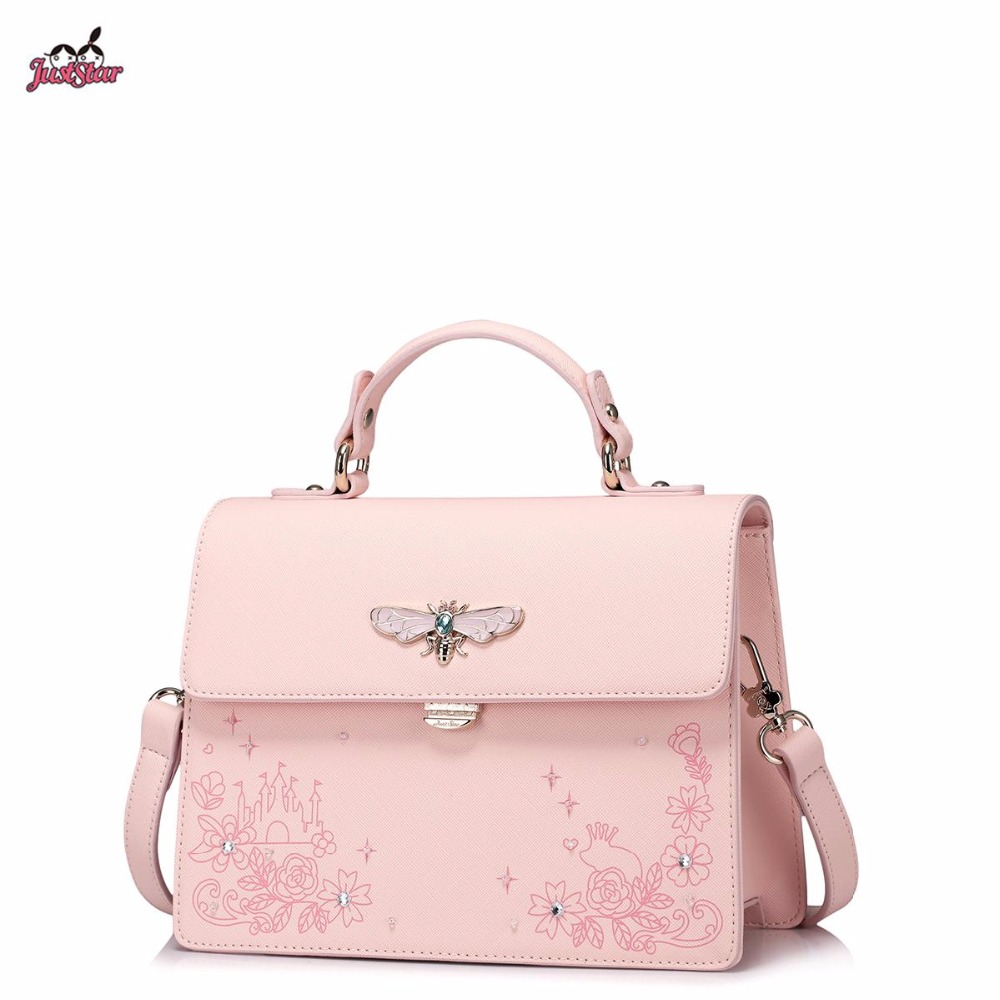Just Star Brand Design Fashion Printing Diamonds Hardware Insect PU Leather Women Handbag Girls Ladies Shoulder Crossbody Bags