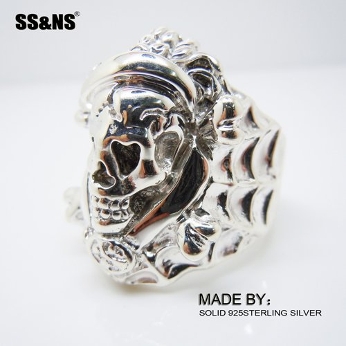 Solid 925Sterling Silver Unique Ring,Mens Silver Skull Skeleton Ring thailand imports skull blood new skeleton silver ring