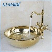 KEMAIDI Paint Bowl Sinks / Vessel Basins With Washbasin Ceramic Basin Sink & Polished Golden Faucet Tap Set 46029836