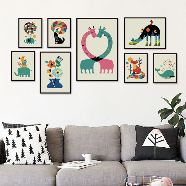 Simple Animal Cartoon Ilration A4 A3 Canvas Art Painting Print Picture Poster Wall Children S Bedroom Decor Baby House Mural