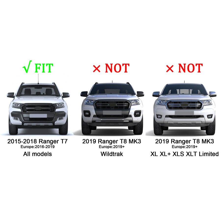 Grille de calandre modifiée pour pare-chocs avant en maille pour RANGER 2015-2018 T7 PX2 MK2 XL XL + XLS XLT Limited WILDTRAK - 6