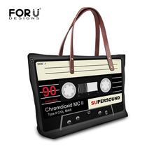 a873ed492a 2016 Fashion Women Handbags 3D Records Tapes Print High Capacity Shoulder  Bags Casual Ladies Travel Tote