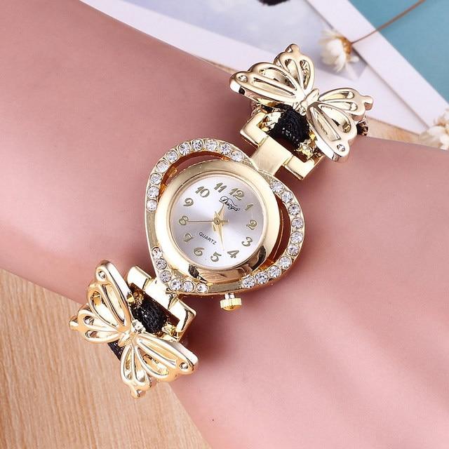 Hesiod Women Wristwatch Ladies Heart Dial Watch Clock Female Stainless Gold Color Butterfly Bracelet Watch