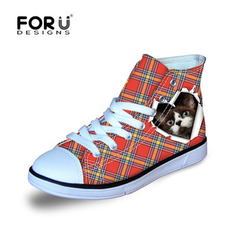 FORUDESIGNS Kids Sneakers Shoes for Children Boys&Girls Walking Running Cycling Cute Cat Printing High Top Kids Canvas Shoes