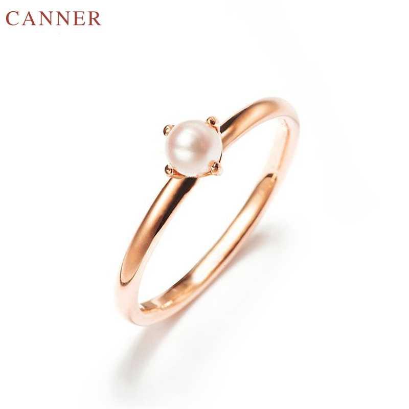 Tiny Pearl แหวนสำหรับหมั้นแต่งงานแหวนแฟชั่นผู้หญิงเครื่องประดับของขวัญครบรอบ amillos mujer C4
