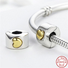 Factory Wholesale Genuine S925 European Beads fit Trendy Bracelet 925 Sterling Silver Small Cute DIY Gold-color Heart Charms new diy 925 sterling silver heart carved high technology cute small robot charm beads fit trendy bracelet for women anniversary