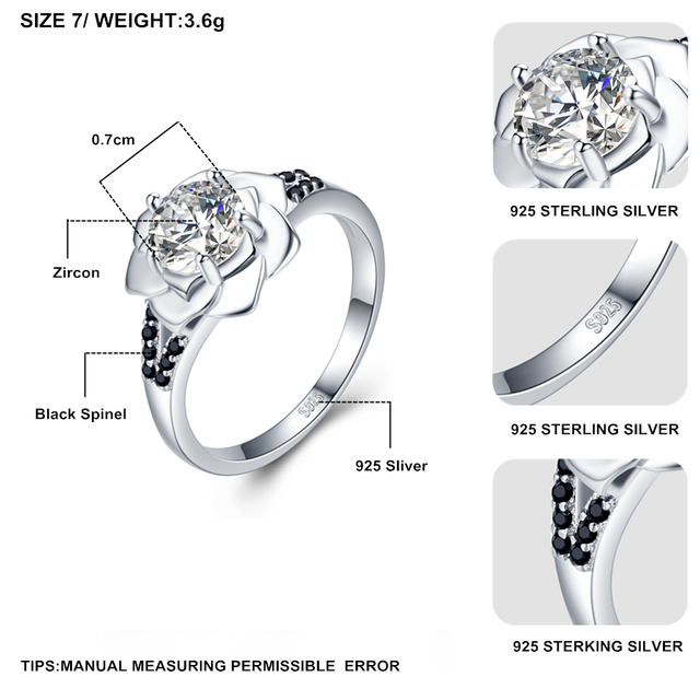 [BLACK AWN] 925 Sterling Silver Ring Female Bague Flower Trendy Wedding Rings for Women Sterling Silver Jewelry G073 1