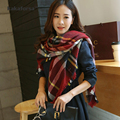 Fashion Winter Women Warm Plaid Blanket Scarf Brand Designer Patchwork Tassel Polyester Shawls and Scarves Lady Soft Neck Warmer