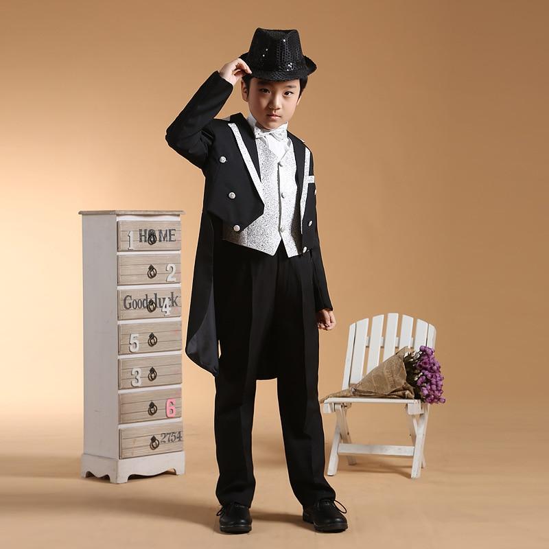 6pcs/ set Black Boys Tuxedo Dress Suits for Boys Formal Boys Blazer Jacket Long Blazer Suits Boys Prom Suits blazer nife blazer