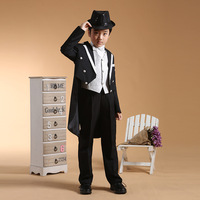 6pcs/ set Black Boys Tuxedo Dress Suits for Boys Formal Boys Blazer Jacket Long Blazer Suits Boys Prom Suits
