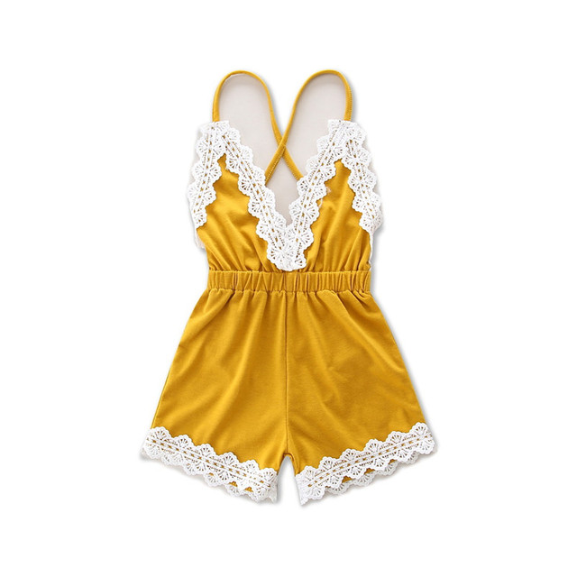 b7fda6fa3928 DFXD 2017 Hot 1pc Baby Girls Clothes Cute Toddler Kids Overalls Ginger  Yellow Sling Pants Summer Fashion Baby Girls Jumpsuit
