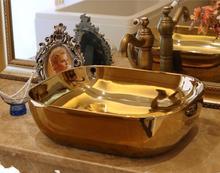 цена на Rectangular Bathroom Lavabo Ceramic Counter Top Wash Basin Cloakroom Hand Painted Vessel Sink JYX017