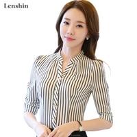 쉬폰 셔츠 얼룩말 패턴 스트라이프 블라우스 공식적인 여성 작업복 여름 반 소매 V 넥 칼라 슬림 사무실 여성