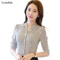 Camicia di chiffon del modello della zebra a strisce camicetta formale donne lavorano usura di estate mezza manica con scollo a v collare sottile ufficio femminile magliette e camicette