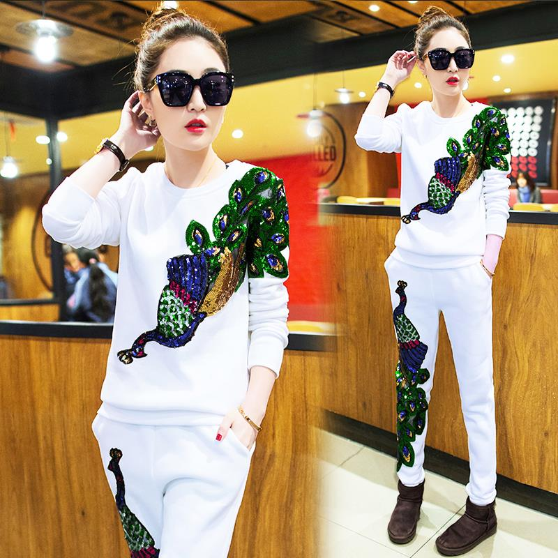 2019 Spring Women 39 s New Casual Suits Female Peacock Phoenix Sequins Tracksuits Clothes Woman 2 Piece Set Plus Size in Women 39 s Sets from Women 39 s Clothing