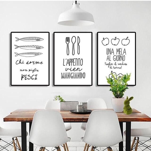Moderno nordic Lettera poster Ristorante cucina home decor canvas ...
