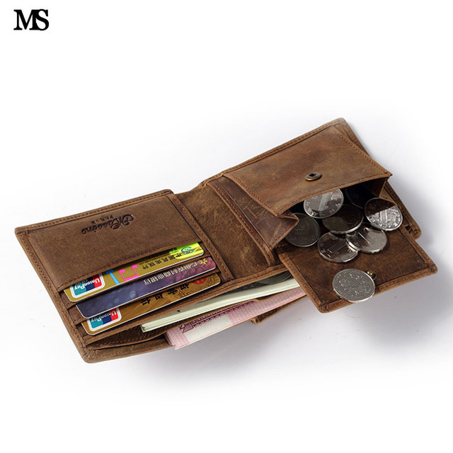 MS Men Genuine Crazy Horse Leather Casual Credit Card ID Cash Coin Holder Wallet Slim Organizer Wallet Trifold Wallet Brown Q300