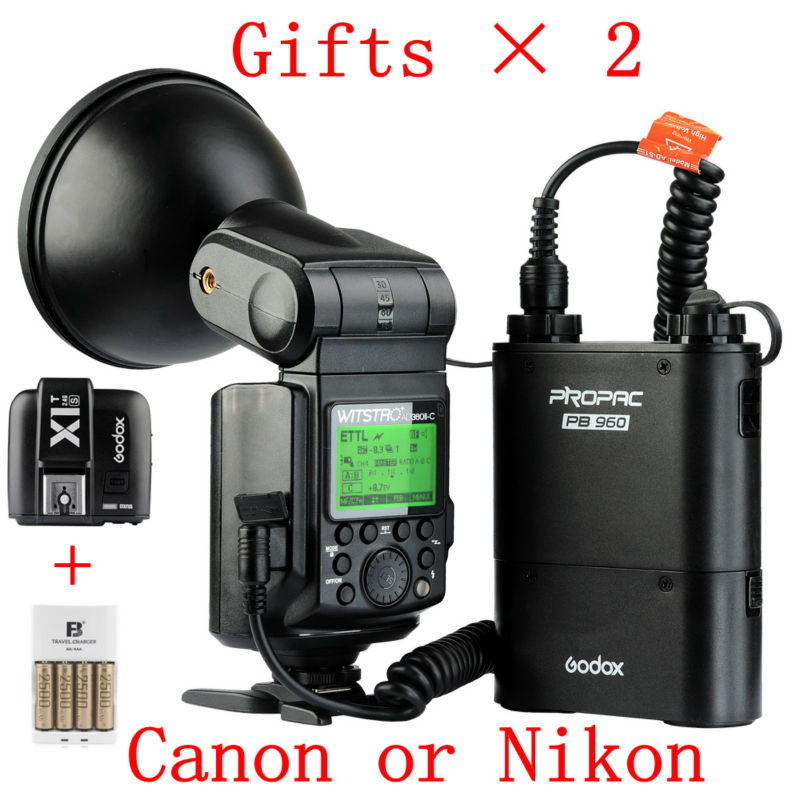 New Godox WITSTRO AD360II TTL X1 C/N Wireless Power Control Outdoor Flash Light + PB960 Power Battery Pack Kit Black for Canon godox witstro ad 360 ad360ii n ttl flash speedlite pb960 battery pack black x1n wireless transmitter for nikon dslr camera