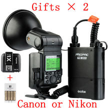 New Godox WITSTRO AD360II TTL X1 C/N Wireless Power Control Outdoor Flash Light + PB960 Power Battery Pack Kit Black for Canon
