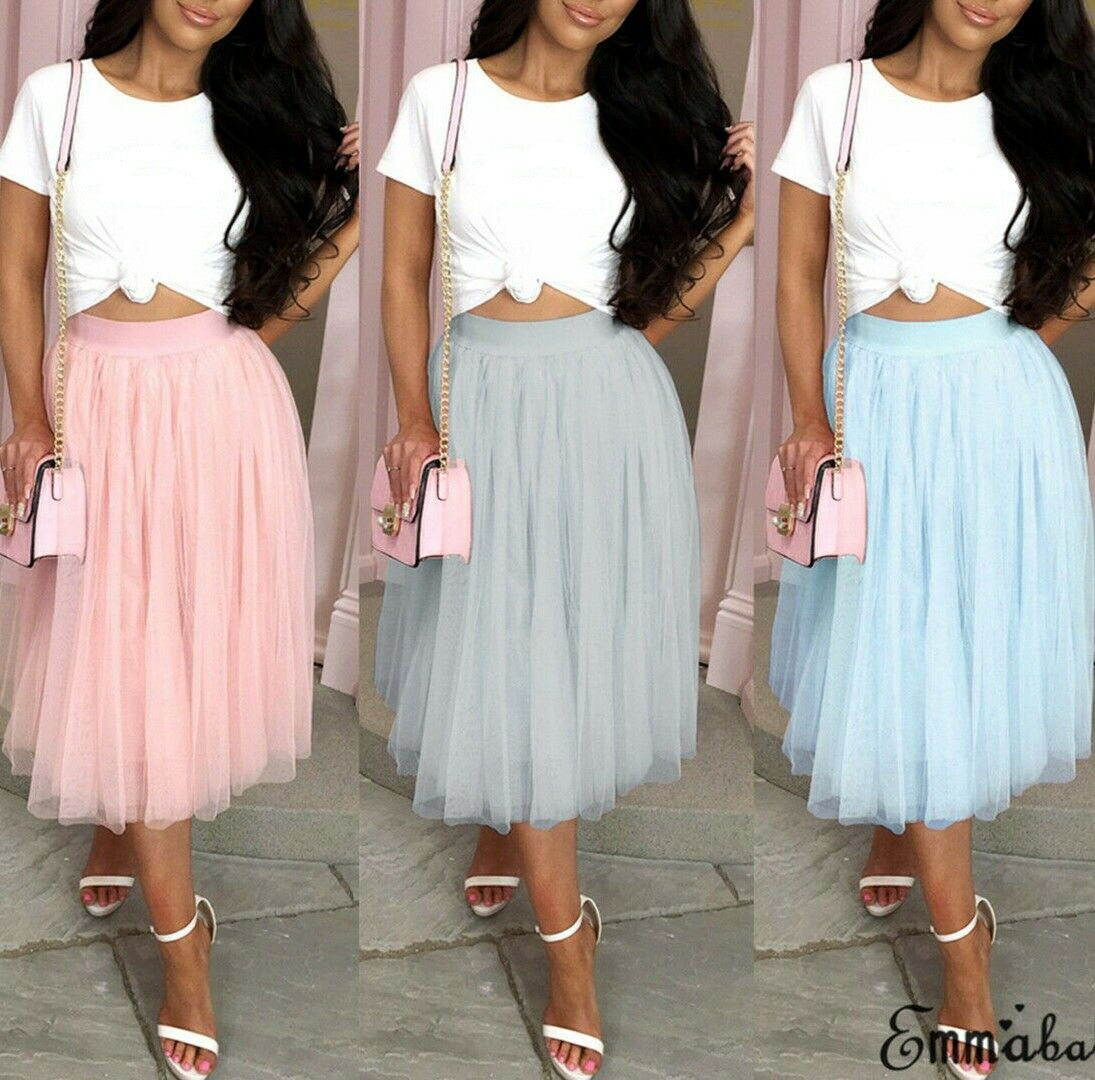 New Women Ladies Fashion Casual Summer Skirt High Waisted Pleated Solid Layers Tutu Skirt Cocktail Party Wear
