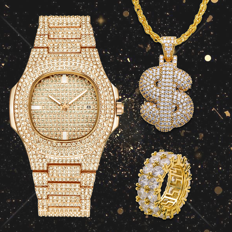 Lureen  Full Iced Out Quartz Watch Hip Hop Dollar Pendant Necklace CZ Big Stone Ring Men Combo Set Jewelry Party Gift W0001Lureen  Full Iced Out Quartz Watch Hip Hop Dollar Pendant Necklace CZ Big Stone Ring Men Combo Set Jewelry Party Gift W0001