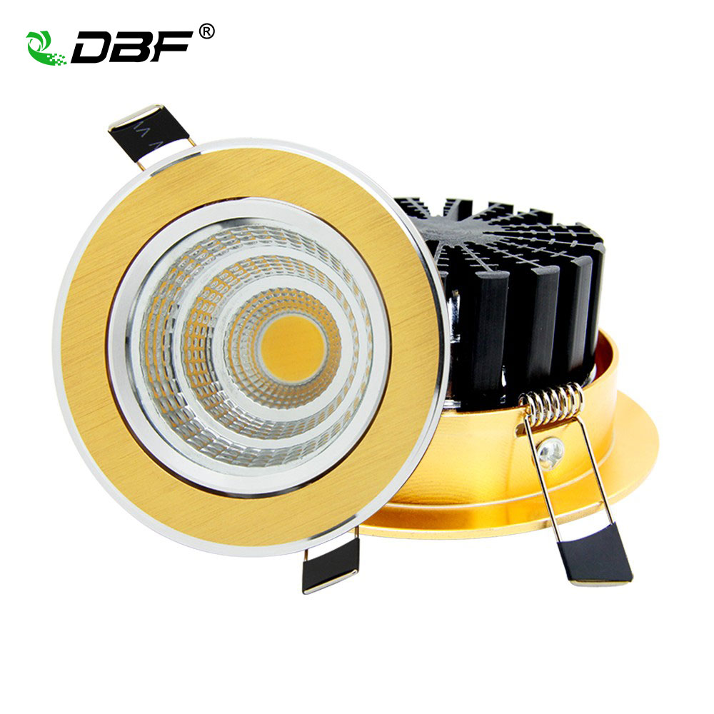 Foco empotrable de oro 7W / 9W / 12W / 15W / 18W / 20W Foco empotrable de luz LED Lámpara de techo Ultra hermosa Regulable LED COB Downlight