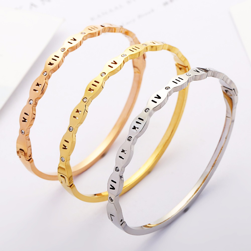 Wholesale free registered screw Roman Numerals Letter Crystal wedding Bracelets Bangles Stainless Steel Jewelry For Women & Man
